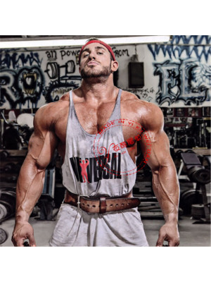 Universal Men Gym Bodybuilding Tank Top رصاصي